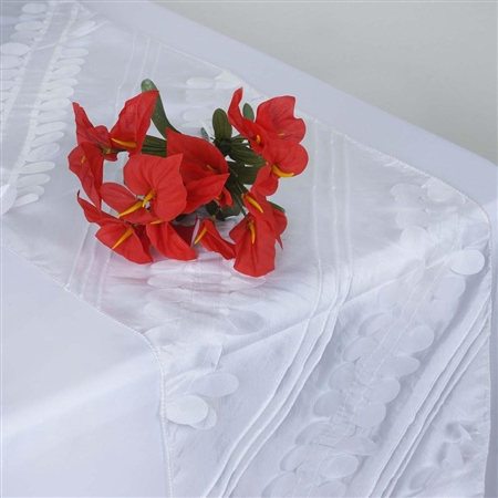 Paradise Forest Taffeta Table Runners – White