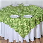 "72""x72"" Triple-Tone Mini-Rosettes Table Overlays - Apple Green Umbre"