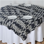 "72""x72"" Triple-Tone Mini-Rosettes Table Overlays - Black Umbre"