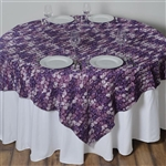 "72""x72"" Triple-Tone Mini-Rosettes Table Overlays - Eggplant Umbre"