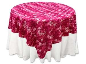 "72""x72"" Triple-Tone Mini-Rosettes Table Overlays - Fushia Umbre"