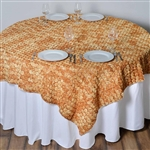 "72""x72"" Triple-Tone Mini-Rosettes Table Overlays - Gold Umbre"