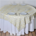 "72""x72"" Triple-Tone Mini-Rosettes Table Overlays - Ivory Umbre"