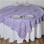 "72""x72"" Triple-Tone Mini-Rosettes Table Overlays - Lavender Umbre"