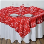 "72""x72"" Triple-Tone Mini-Rosettes Table Overlays - Red Umbre"