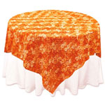 "72""x72"" Triple-Tone Mini-Rosettes Table Overlays - Orange Umbre"