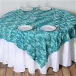 "72""x72"" Triple-Tone Mini-Rosettes Table Overlays - Turquoise Umbre"