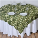 "72""x72"" Triple-Tone Mini-Rosettes Table Overlays - Willow Green Umbre"