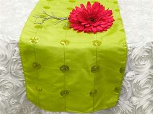 Bejeweled Taffeta Sequin Table Runners - Apple Green