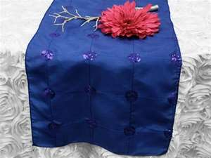 Bejeweled Taffeta Sequin Table Runners  - Royal Blue