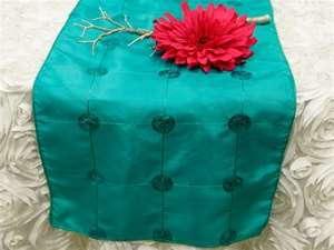 Bejeweled Taffeta Sequin Table Runners  - Turquoise