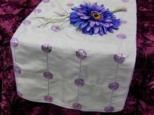 Bejeweled Taffeta Sequin Table Runners  - Lavender