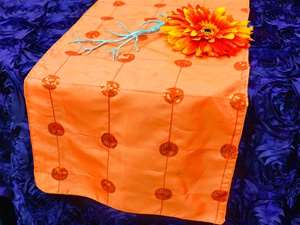 Bejeweled Taffeta Sequin Table Runners  - Orange