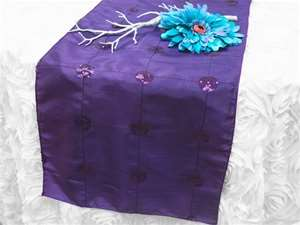 Bejeweled Taffeta Sequin Table Runners  - Purple