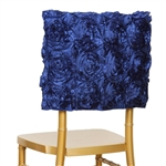 Grandiose Rosette Chair Caps (Square-Top) – Navy Blue
