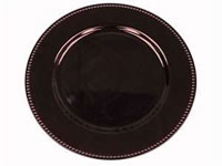 "13"" Eggplant Beaded Charger Plate-Set of 6"