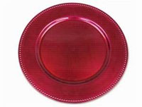 "13"" Fushia Beaded Charger Plate-Set of 6"