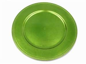 "13"" Lime Beaded Charger Plate-Set of 6"