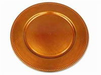 "13"" Orange Beaded Charger Plate-Set of 6"