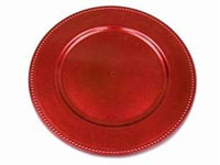 "13"" Red Beaded Charger Plate-Set of 6"
