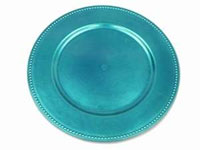 "13"" Turquoise Beaded Charger Plate-Set of 6"