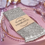 Premium Sequin Napkin for Wedding Banquet Party Table Decoration in Silver