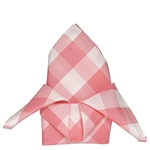 "15"" x 15"" Rose Quartz/White Checkered Gingham Polyester Napkins for Restaurant Tableware - 5 PCS"