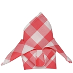 "15"" x 15"" Coral/White Checkered Gingham Polyester Napkins for Restaurant Tableware - 5 PCS"