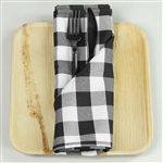 "15"" x 15"" Black/White Checkered Gingham Polyester Napkins for Restaurant Tableware - 5 PCS"