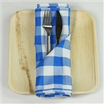 "15"" x 15"" Light Blue/White Checkered Gingham Polyester Napkins for Restaurant Tableware - 5 PCS"