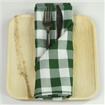 "15"" x 15"" Green/White Checkered Gingham Polyester Napkins for Restaurant Tableware - 5 PCS"