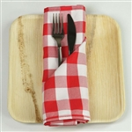 "15"" x 15"" Red/White Checkered Gingham Polyester Napkins for Restaurant Tableware - 5 PCS"