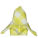 "15"" x 15"" Yellow/White Checkered Gingham Polyester Napkins for Restaurant Tableware - 5 PCS"