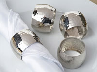 Shiny Silver Plated Hammered Curved Napkin Rings - 4/pk