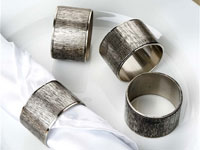 Vintage Copper Napkin Rings with Ribbed Surface and Fine Edges - 4/pk