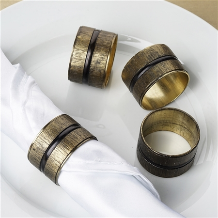 Antique Copper Napkin Rings with Ribbed Surface and Obsidian Black Striped Center - 4/pk
