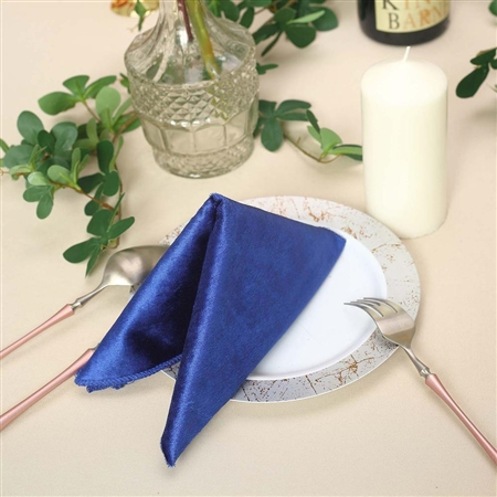 "20"" x 20"" Econoline Seamless Velvet Linen Napkins - 5-Pack - Royal Blue"