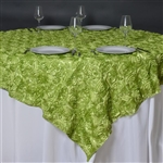 "85""x85"" Grandiose Rosette Table Overlays - Apple Green"