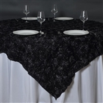 "85""x85"" Grandiose Rosette Table Overlays - Black"