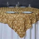 "85""x85"" Grandiose Rosette Table Overlays - Champagne"