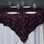 "85""x85"" Grandiose Rosette Table Overlays - Eggplant"