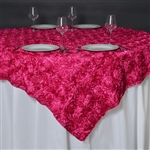 "85""x85"" Grandiose Rosette Table Overlays - Fushia"