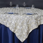 "85""x85"" Grandiose Rosette Table Overlays - Ivory"