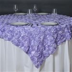 "85""x85"" Grandiose Rosette Table Overlays - Lavender"
