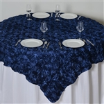 "85""x85"" Grandiose Rosette Table Overlays - Navy"