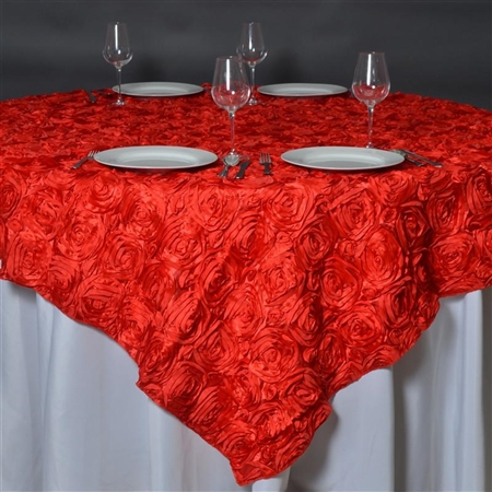 "85""x85"" Grandiose Rosette Table Overlays - Red"