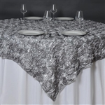 "85""x85"" Grandiose Rosette Table Overlays - Silver"