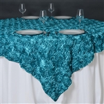 "85""x85"" Grandiose Rosette Table Overlays - Turquoise"