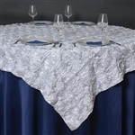 "85""x85"" Grandiose Rosette Table Overlays - White"