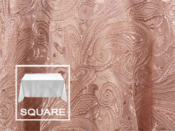 "84"" X 84"" Square Premium Paisley Elegant Lace Tablecloth"